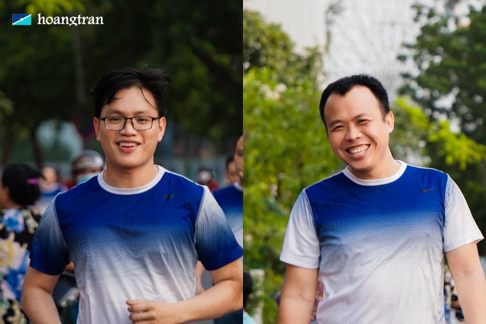 Hai nam nhân viên phòng Marketing hào hứng tham gia lần lượt các vòng chạy.